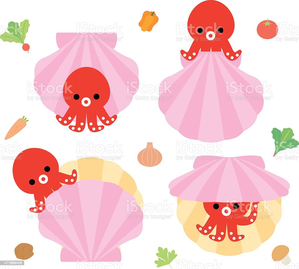 Octopus and scallops of character vector art illustration