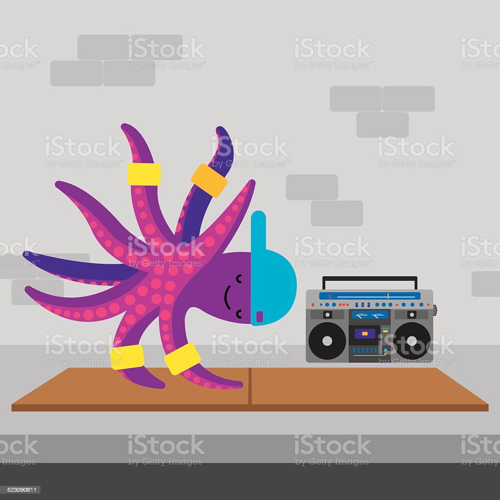 Octopus Breakdance vector art illustration
