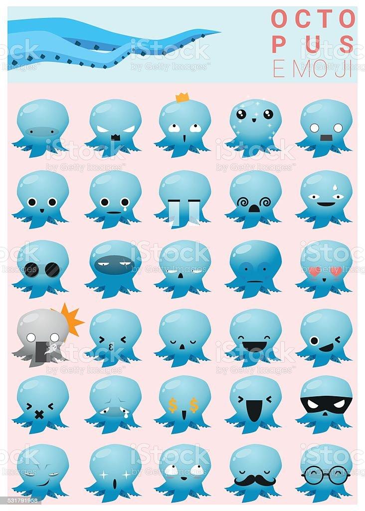 Octopus emoji icons vector art illustration