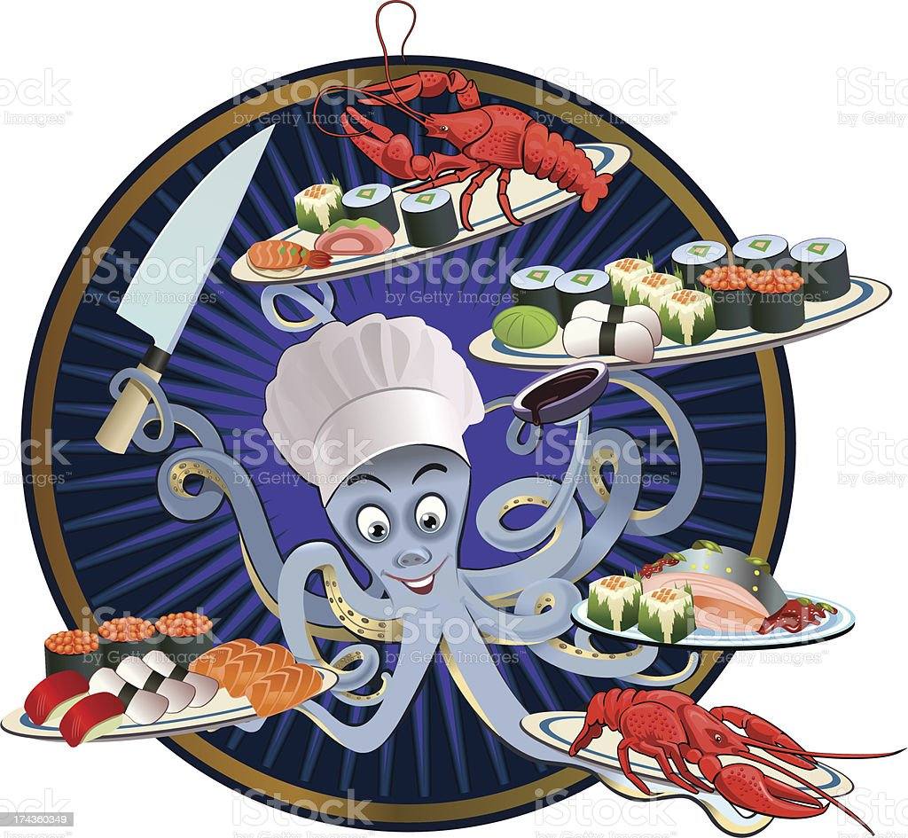 Octopus in sushi bar royalty-free stock vector art