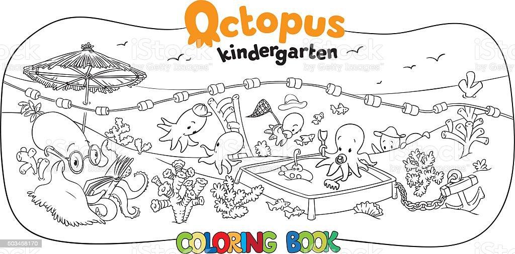 Octopus kindergarten coloring book vector art illustration