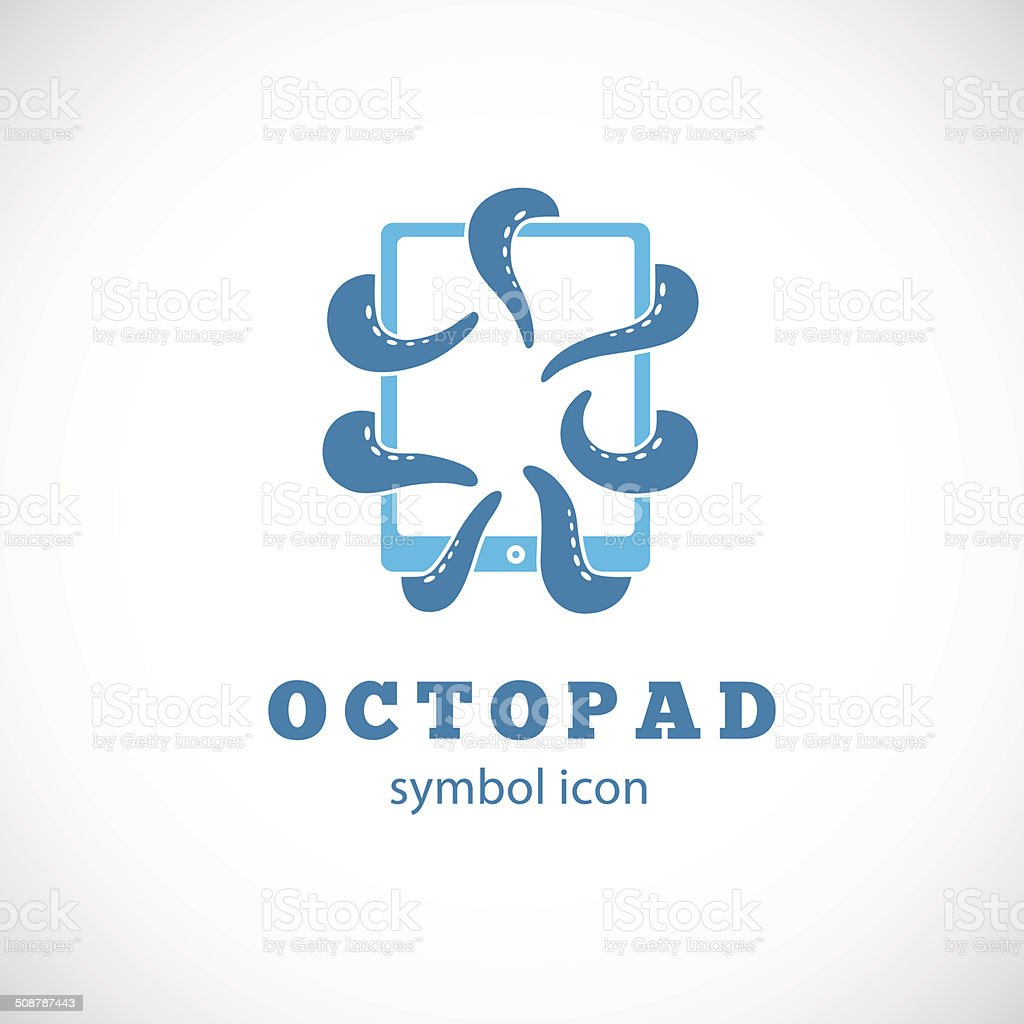 Octopus Pad Vector Concept Symbol Icon or Logo Template vector art illustration
