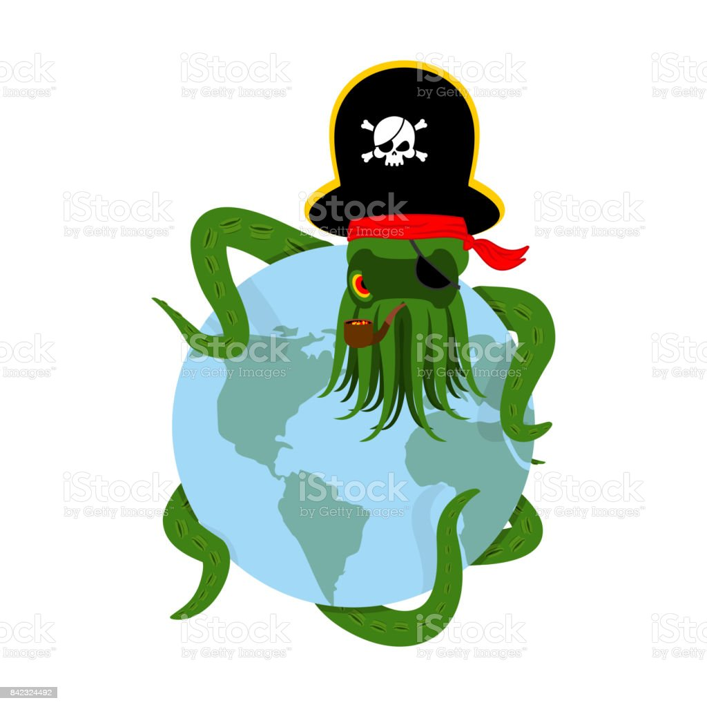 Octopus pirate and earth. poulpe buccaneer and planet. Eye patch and smoking pipe. pirates cap. Bones and See animal filibuster vector art illustration