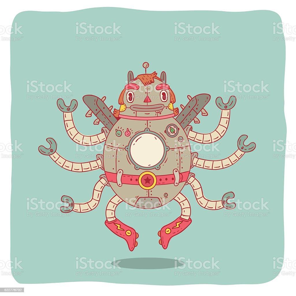 Octopus Robot vector art illustration