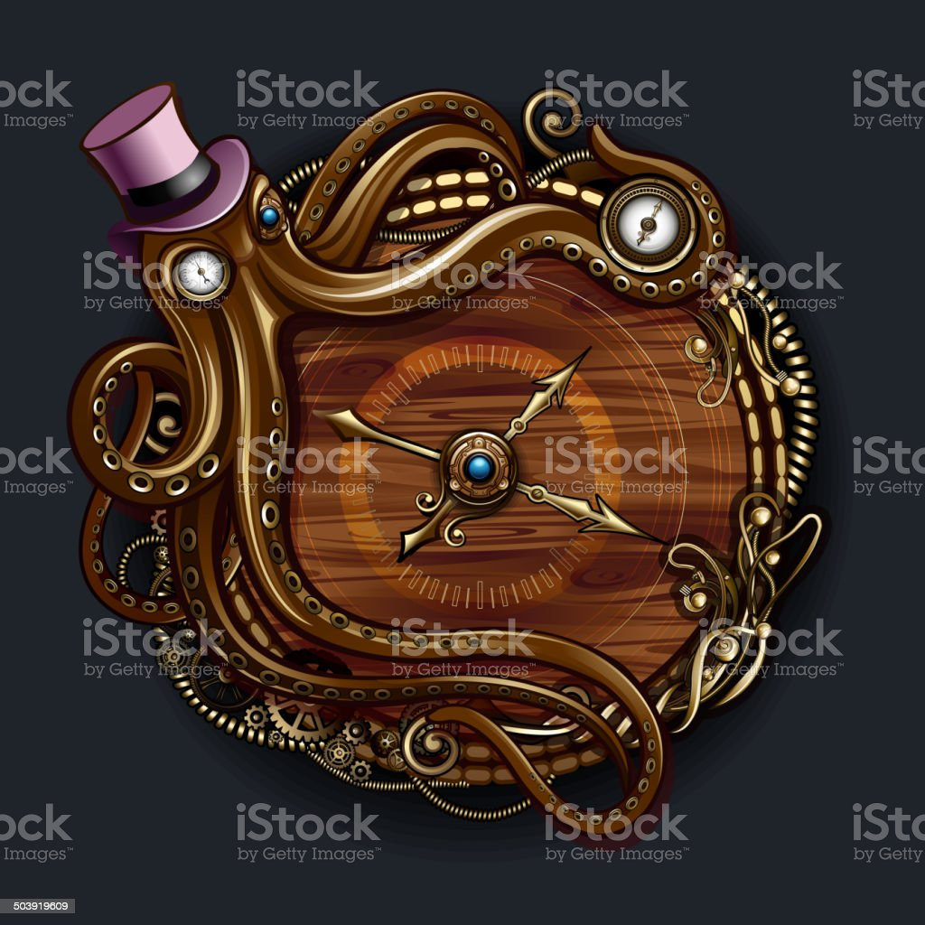 Octopus Steampunk Clock stock vector art 503919609 | iStock