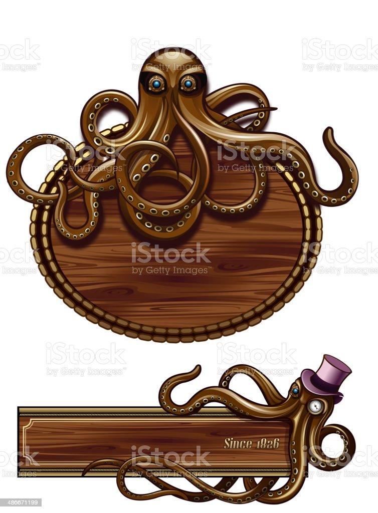 Octopus Steampunk emblem vector art illustration
