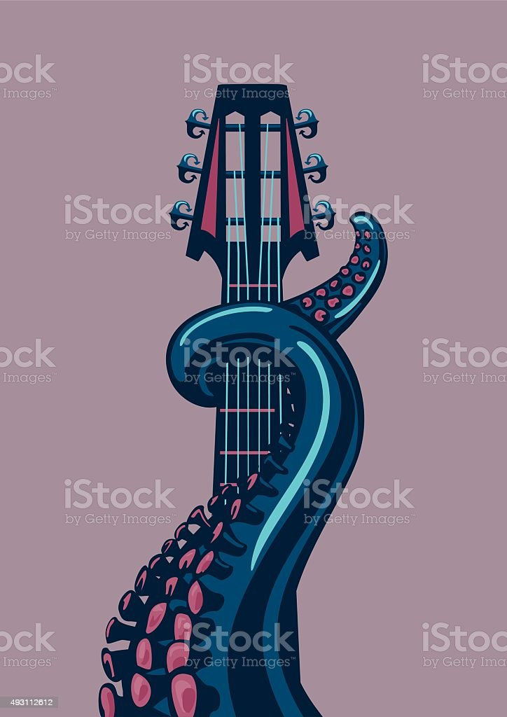 Octopus tentacle is holding a guitar riff. vector art illustration