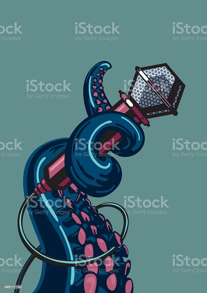Octopus tentacle is holding a microphone vector art illustration