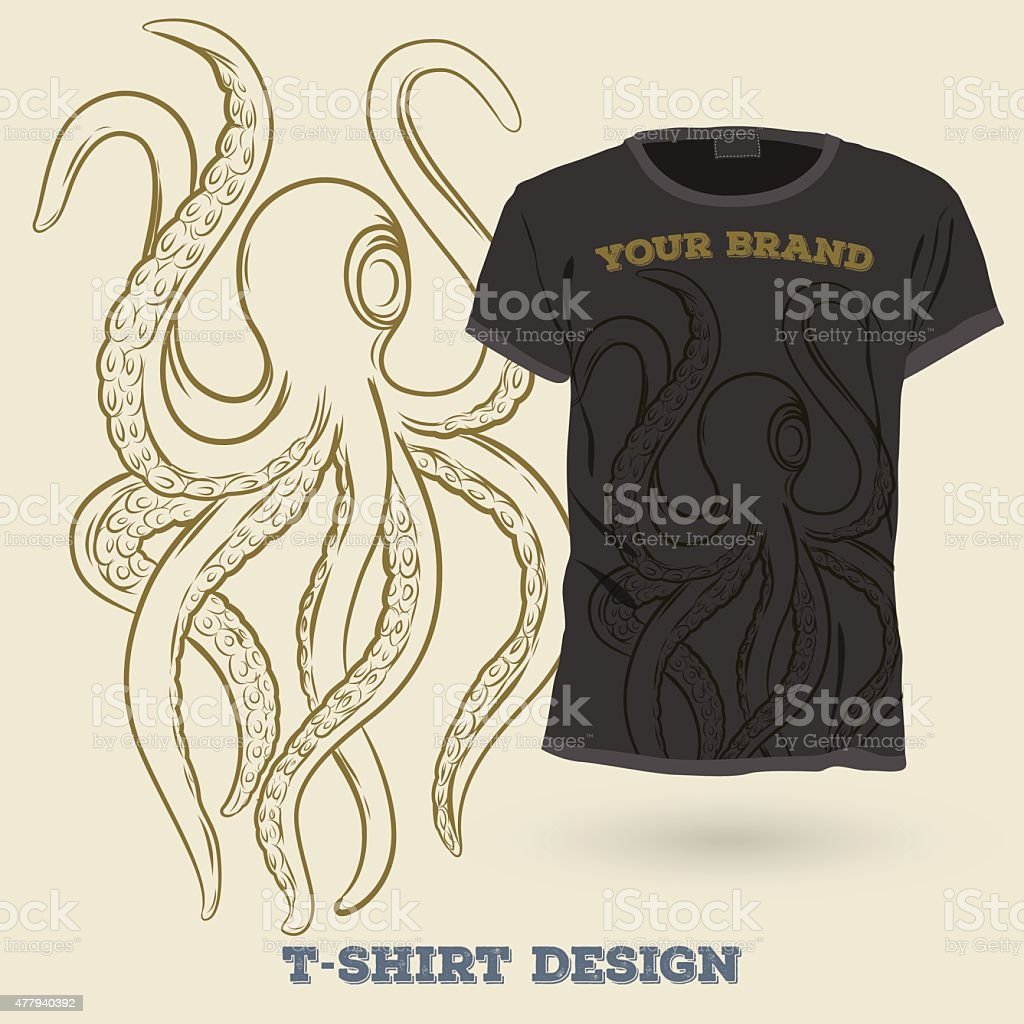 Shirt design octopus - Octopus T Shirt Design Print Design Royalty Free Stock Vector Art