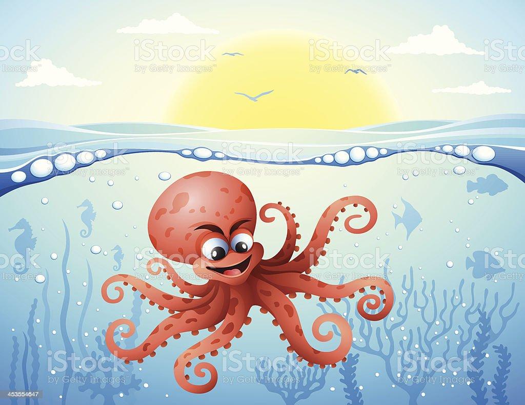 Octopus under the sea royalty-free stock vector art