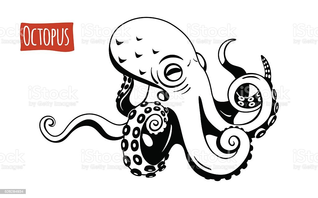 Octopus, vector cartoon illustration vector art illustration