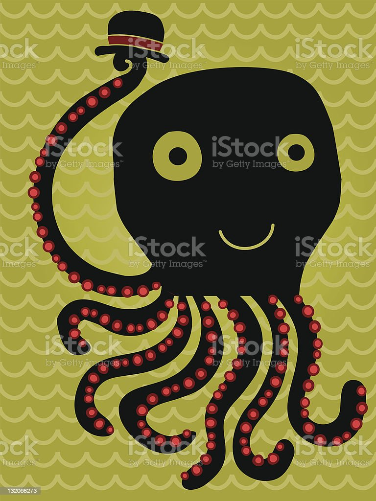 Octopus with hat saluting royalty-free stock vector art