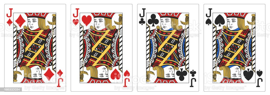 4 of a kind Jacks poker playing card vector art illustration