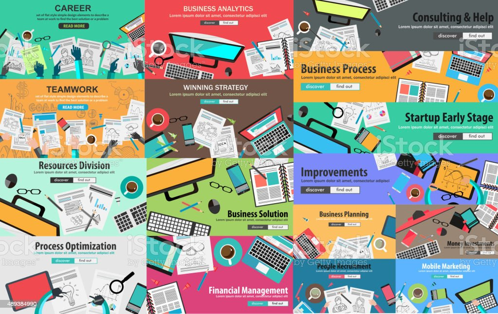 MEGA PACK of Design Concepts for business strategy vector art illustration