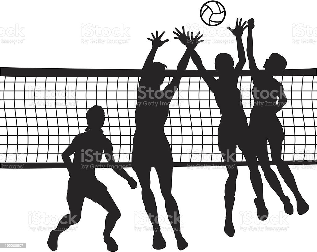 Of people jumping for volleyball in front of net vector art illustration