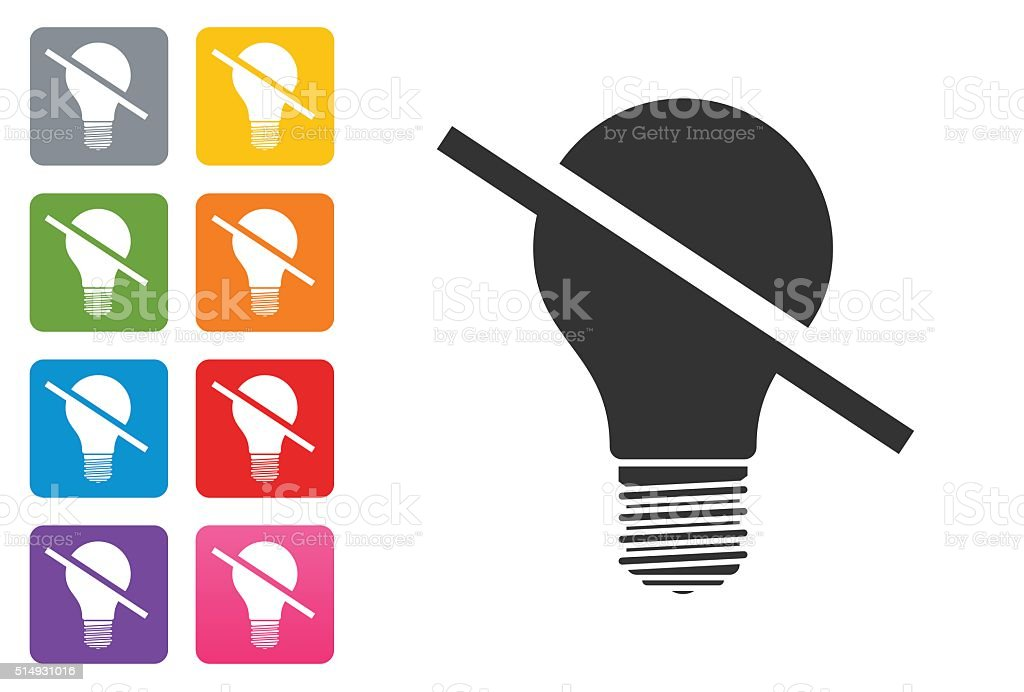 Off Bulb Icon Flat on coloured button - design elements stock photo