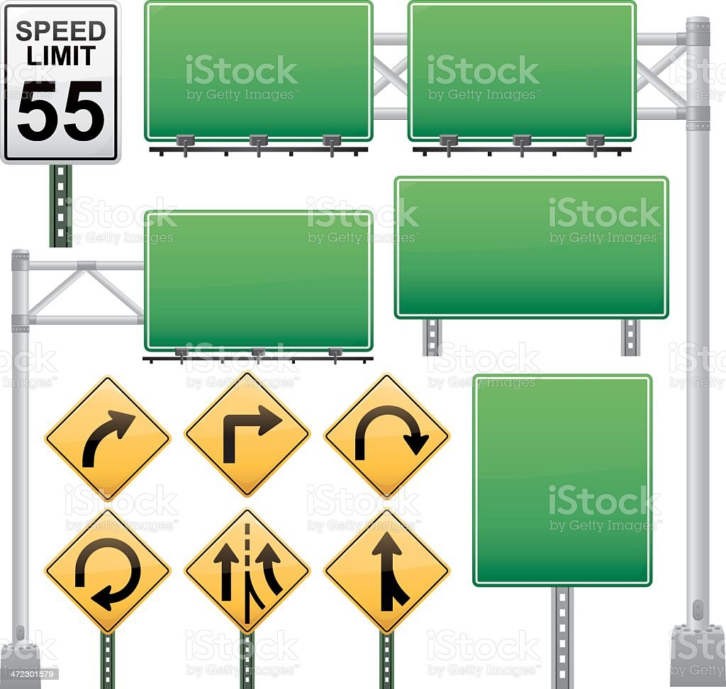 Off Ramp Road Sign Collection royalty-free stock vector art