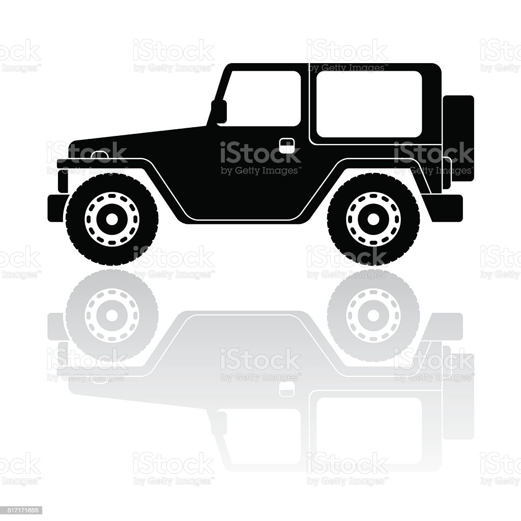 Off road vehicle silhouette vector icon vector art illustration