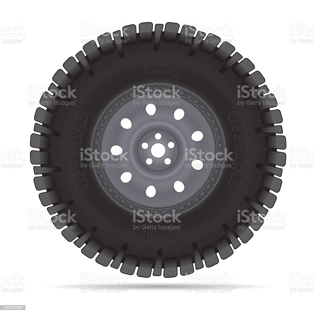Off road vehicles wheel vector art illustration