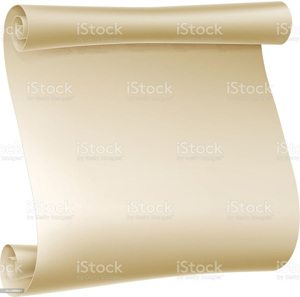 Off white blank unrolled paper scroll image royalty-free stock vector art