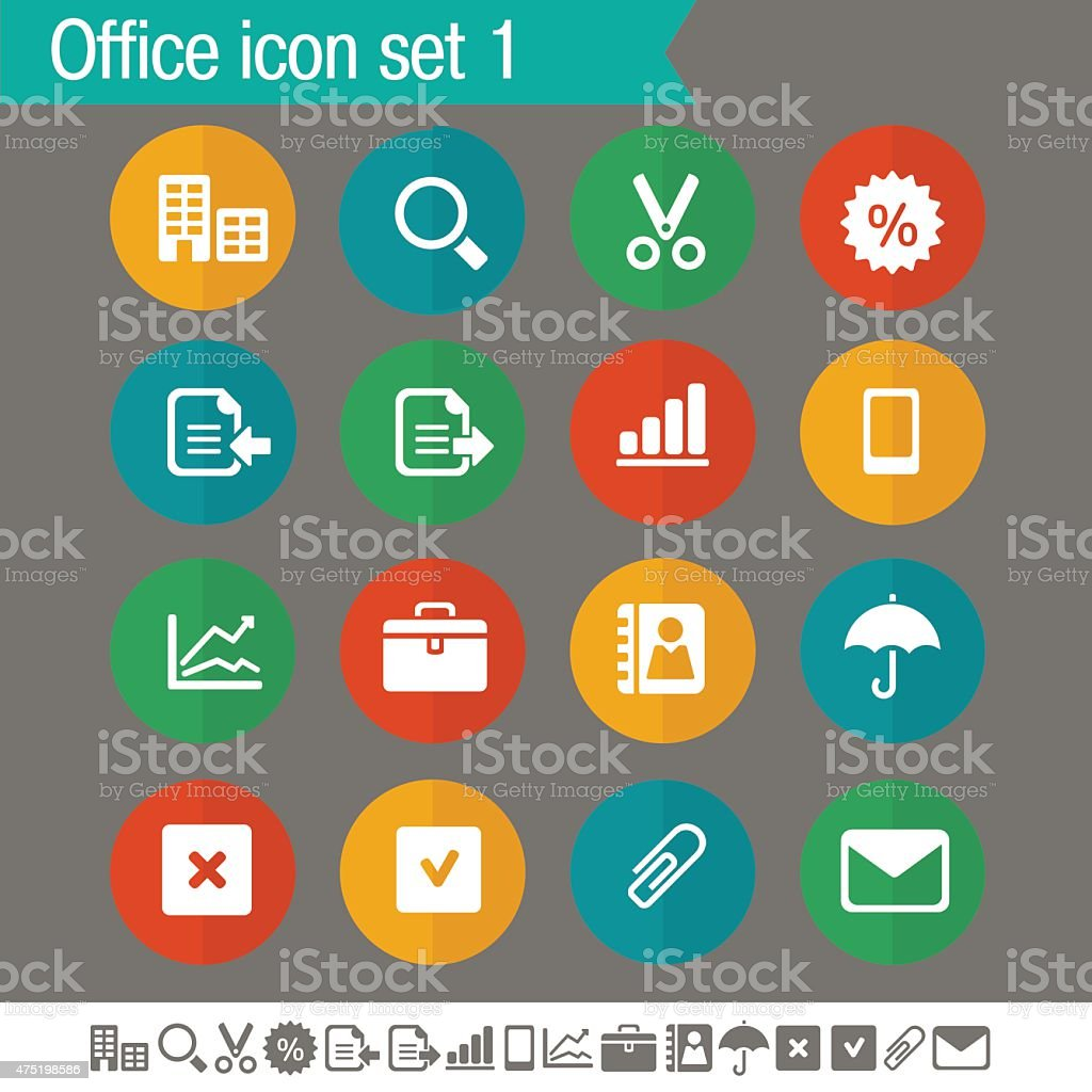 Office 1 icons | Flat colored circles collection vector art illustration