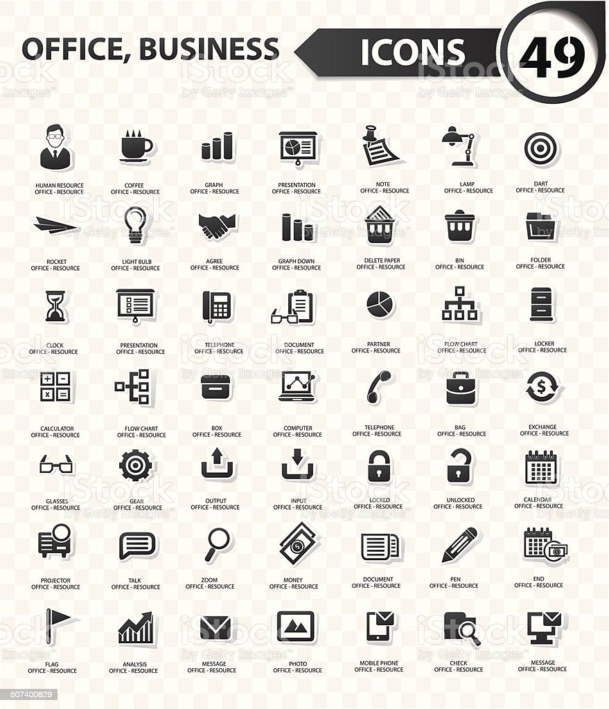 Office and business concept,Black version vector art illustration