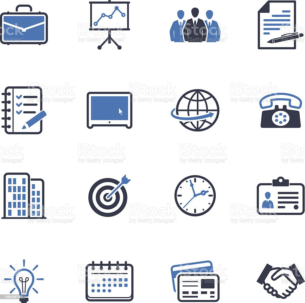 Office and Business Icons - Blue Series vector art illustration