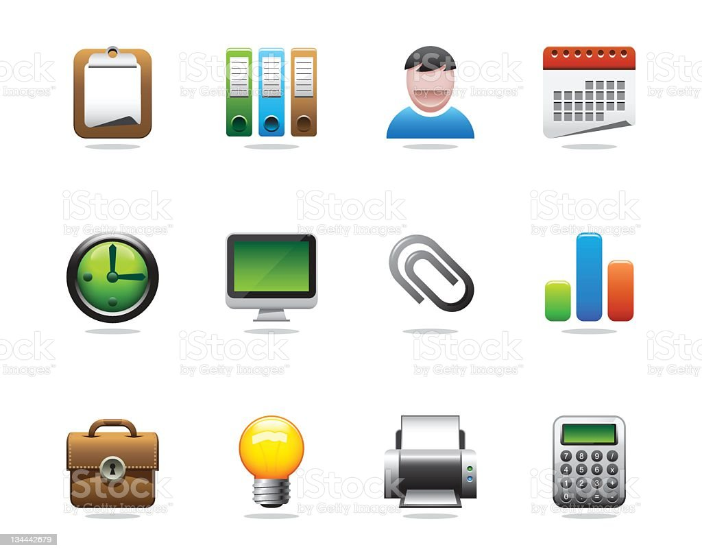 Office and Business Icons - Grace Series royalty-free stock vector art