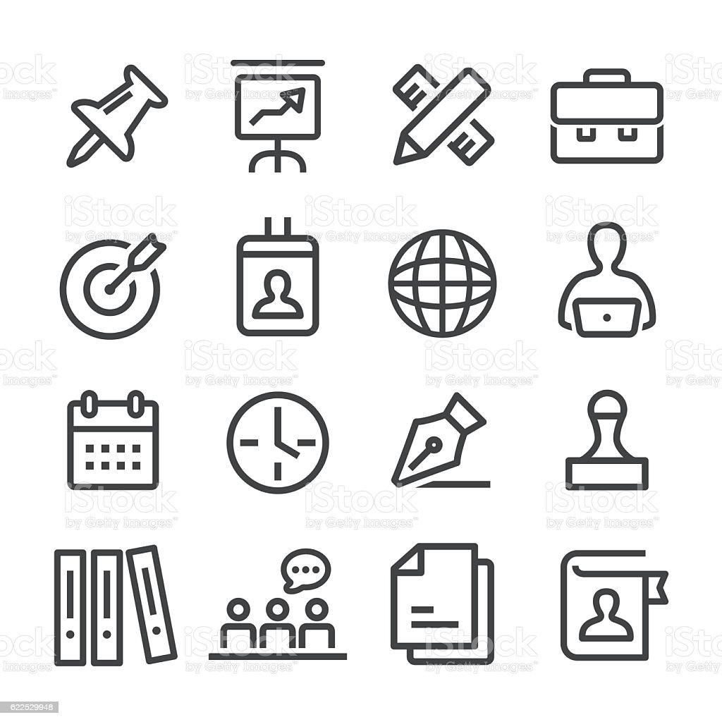 Office and Business Icons Set - Line Series vector art illustration