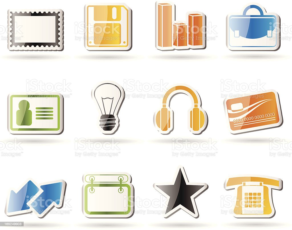 Office and business icons royalty-free stock vector art
