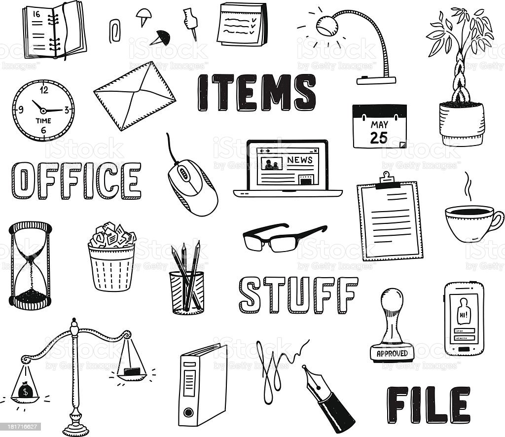 Office and business objects doodles set royalty-free stock vector art