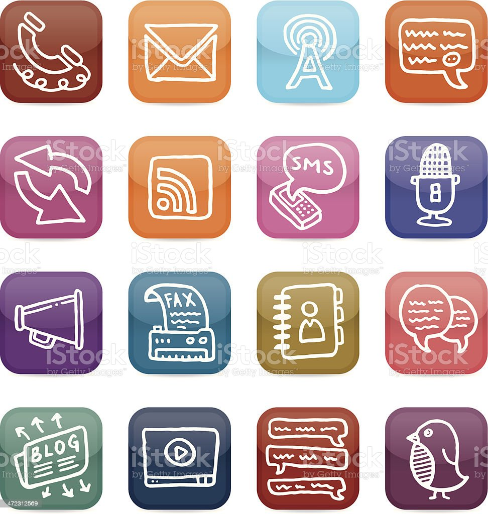 Office and communication icon set royalty-free stock vector art