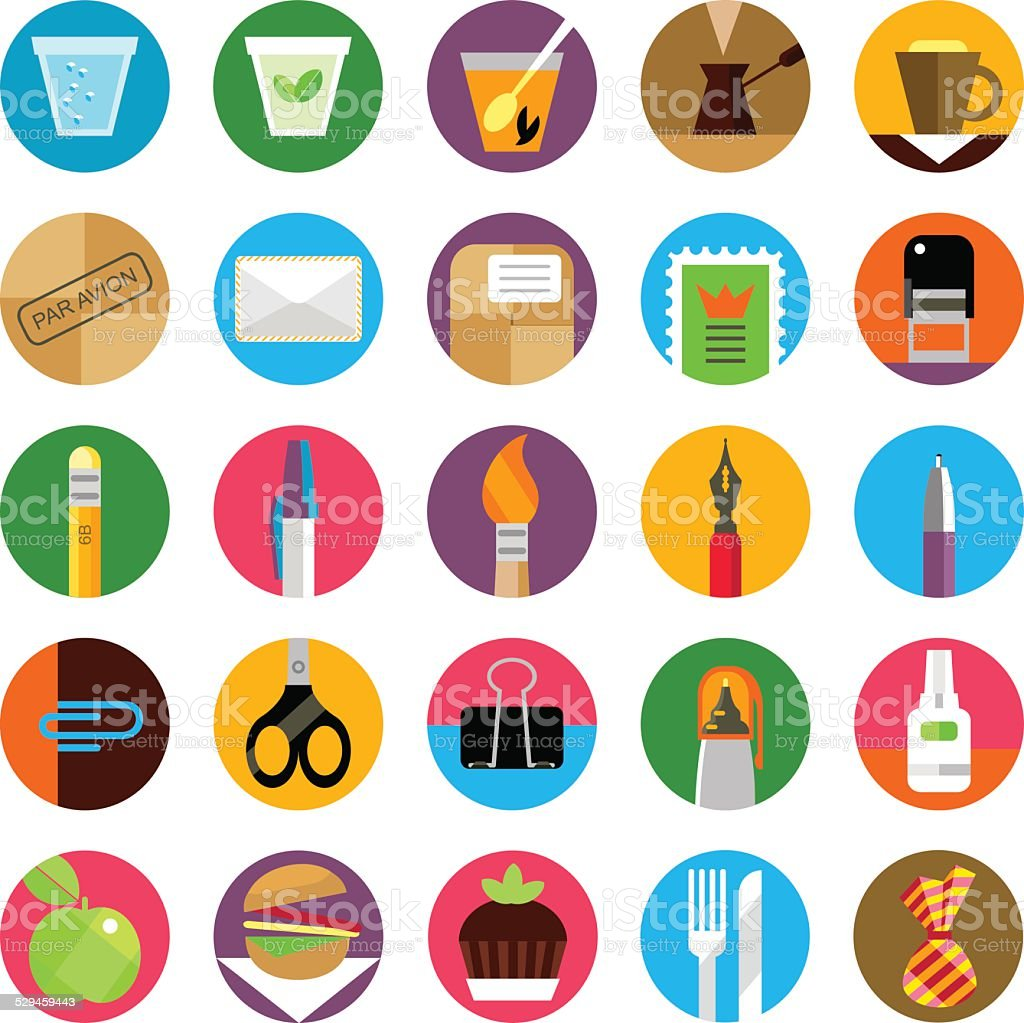 Office and munchies flat icons set vector art illustration