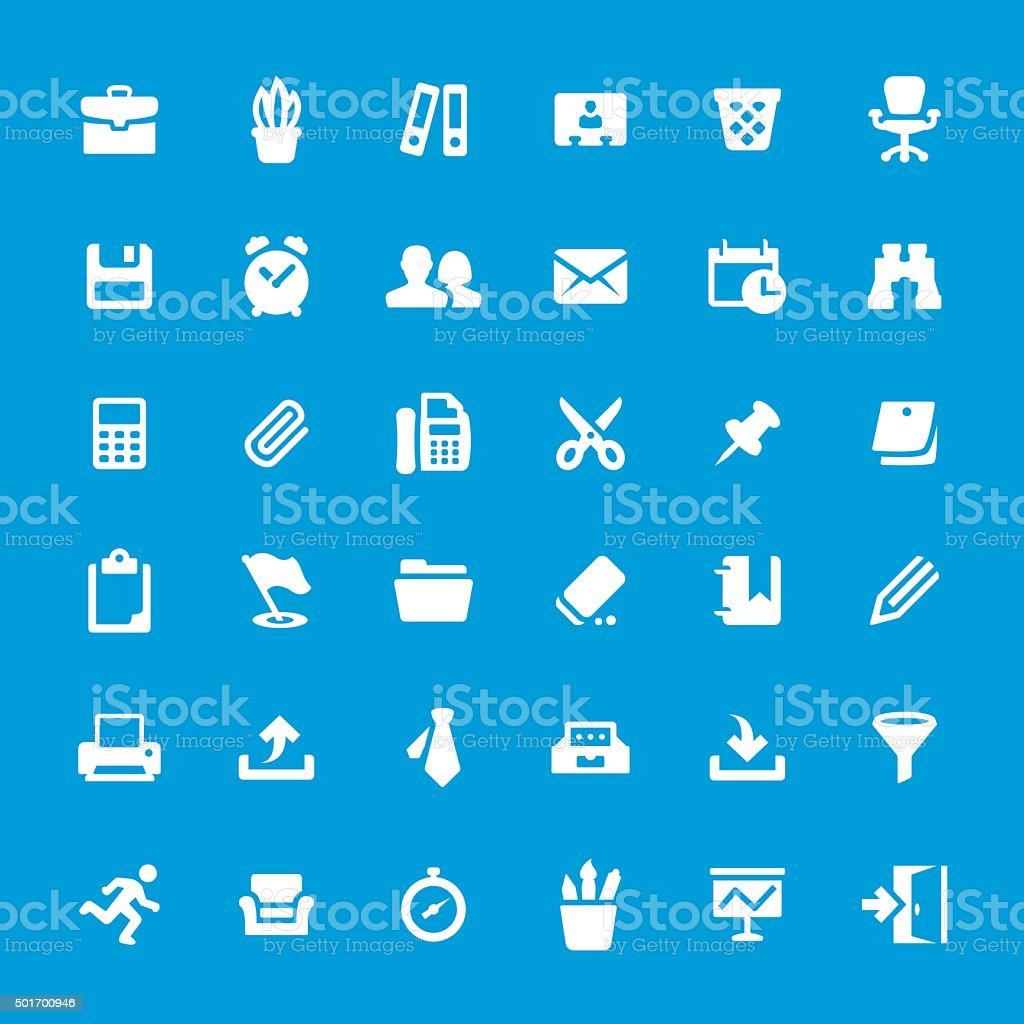 Office and Paperwork vector icon set vector art illustration
