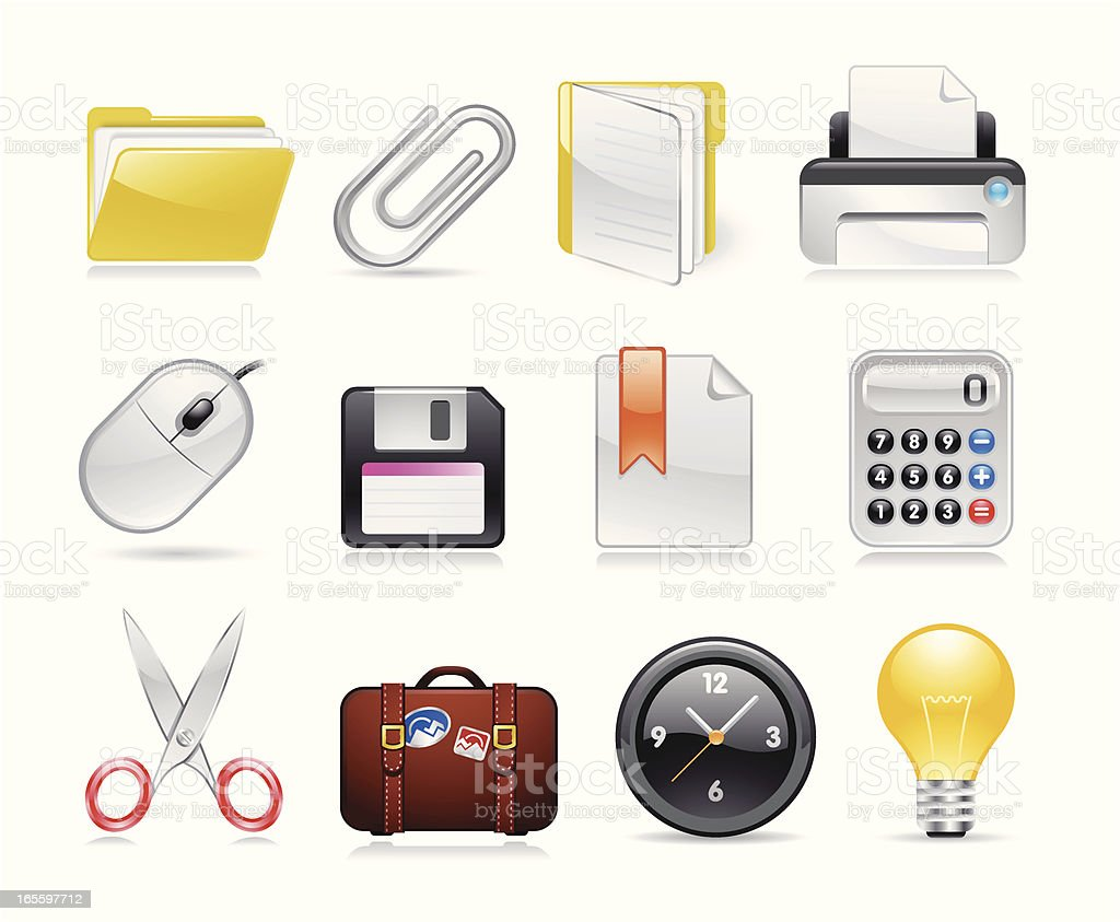 Office and Software Icons royalty-free stock vector art
