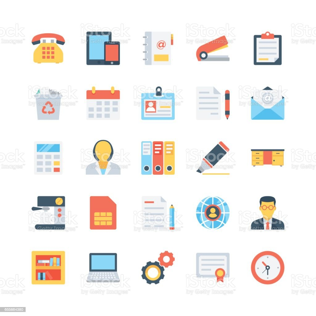 Office and Stationery Vector Icons 1 vector art illustration