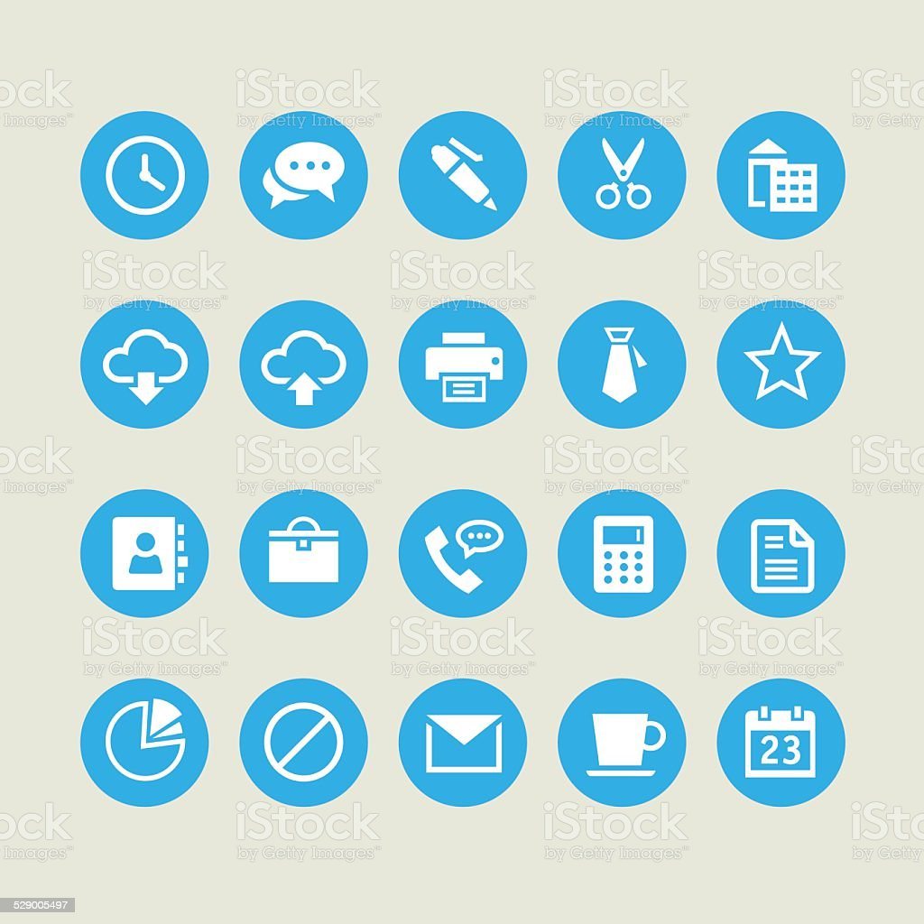 Office and Web blue Icons vector art illustration