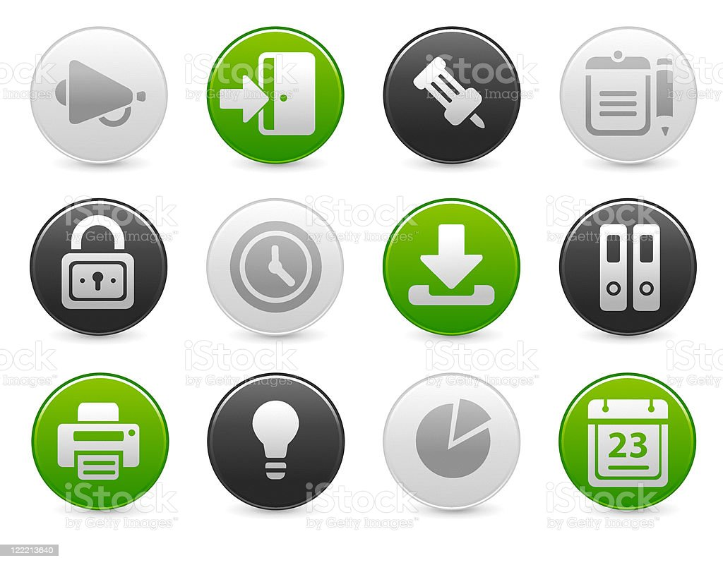 Office and web icons | Satin round buttons royalty-free stock vector art