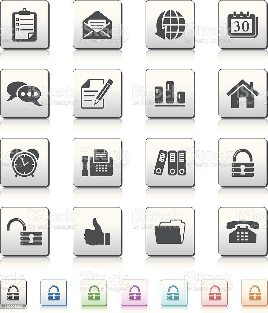 office and web icons vector art illustration