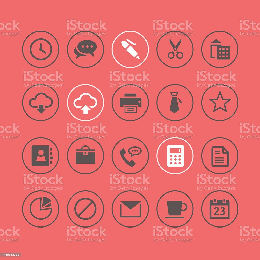 Office and Web Light Icons vector art illustration