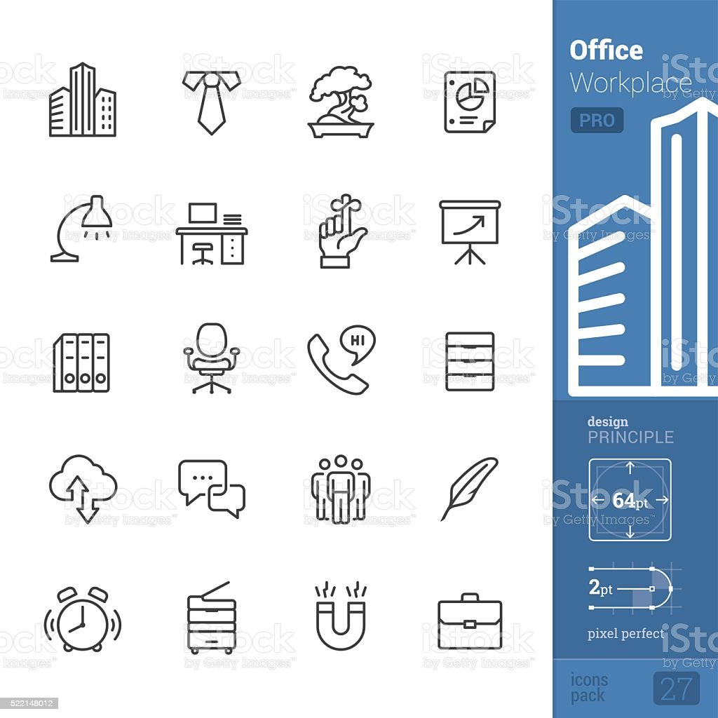 Office and Workplace vector icons - PRO pack vector art illustration