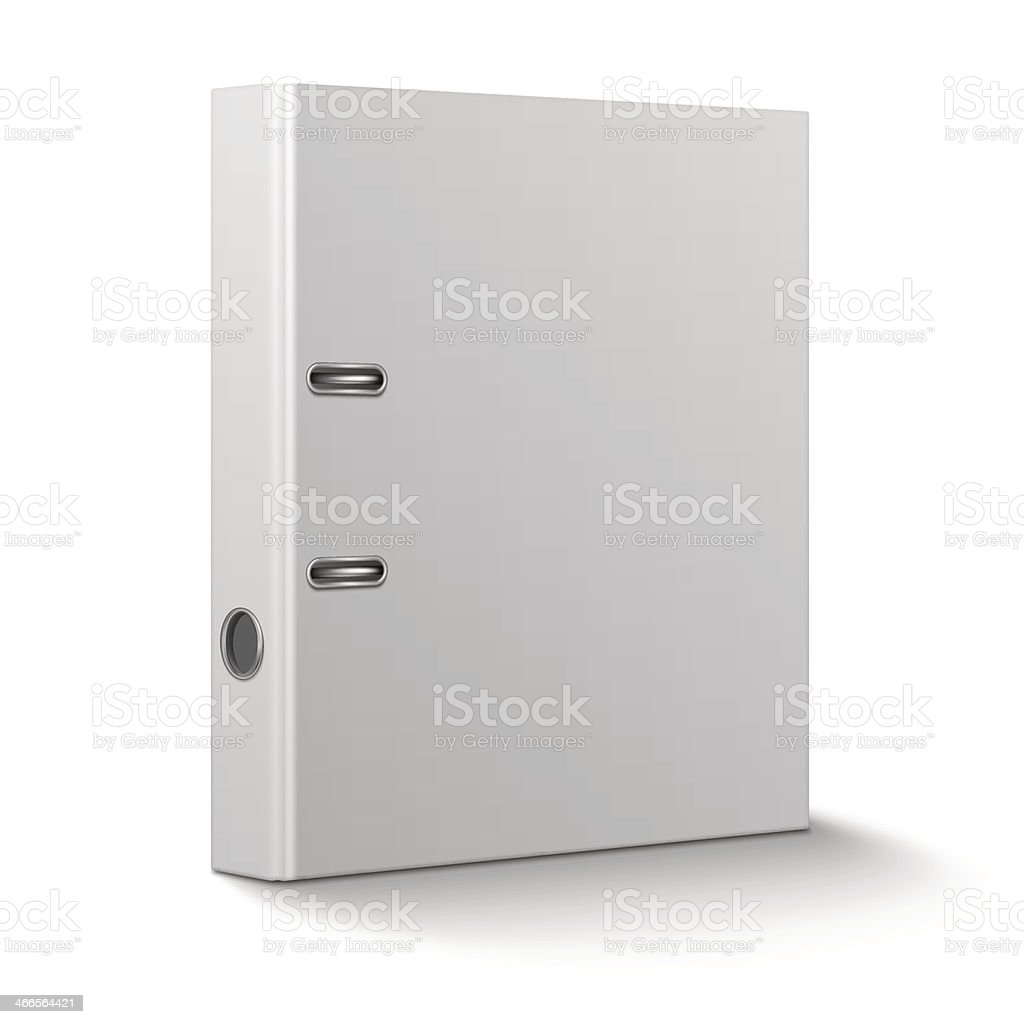 Office binder standing on white background. vector art illustration