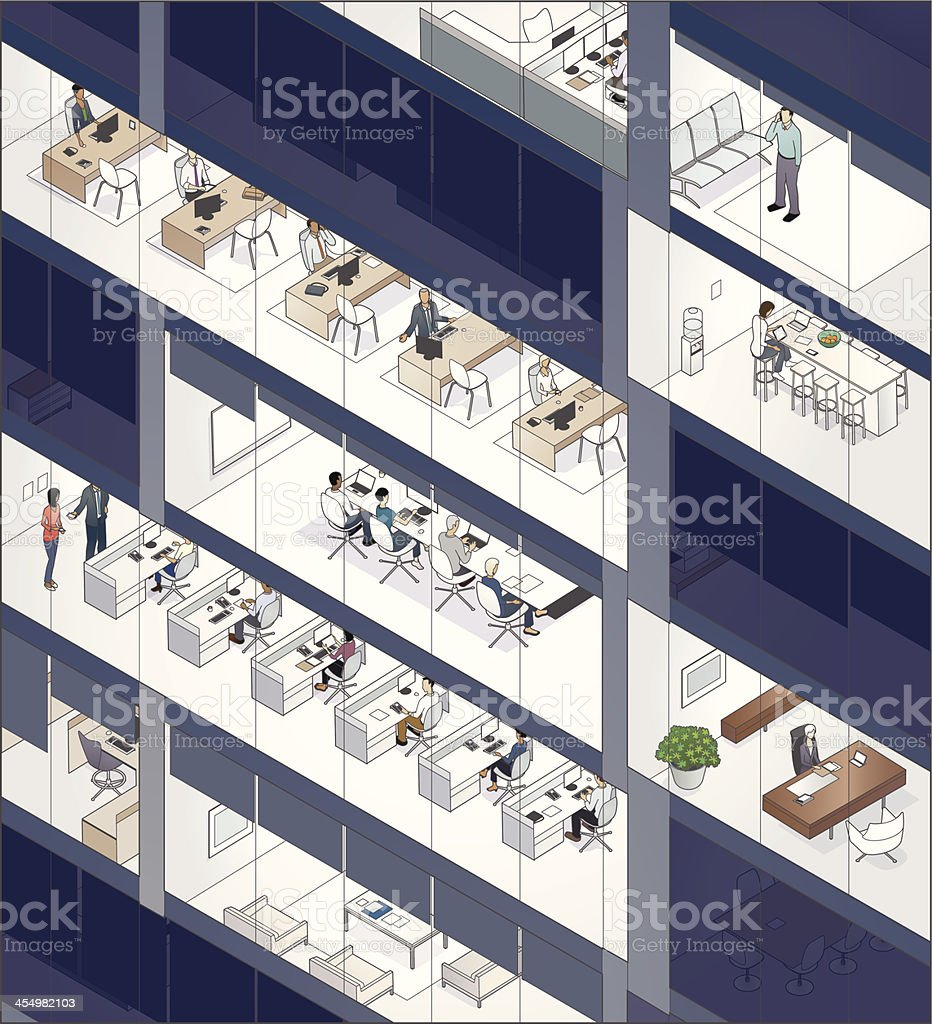Office Building Facade with People vector art illustration