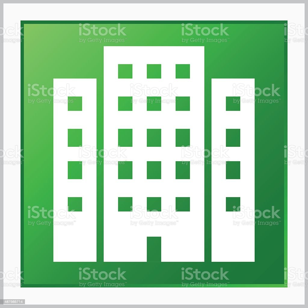 Office Building icon on a square button. vector art illustration