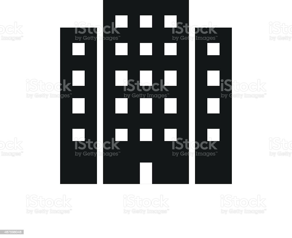 Office Building icon on a white background. vector art illustration