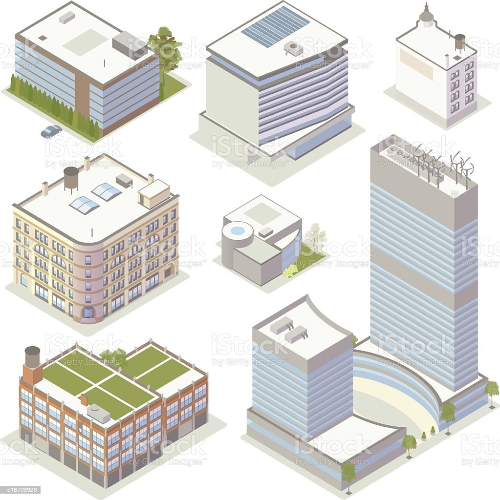 Office Building Illustrations vector art illustration