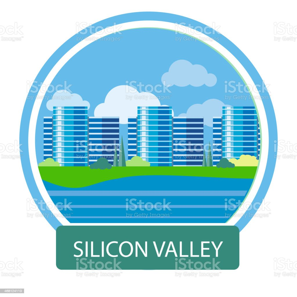 Office building in Silicon Valley vector art illustration