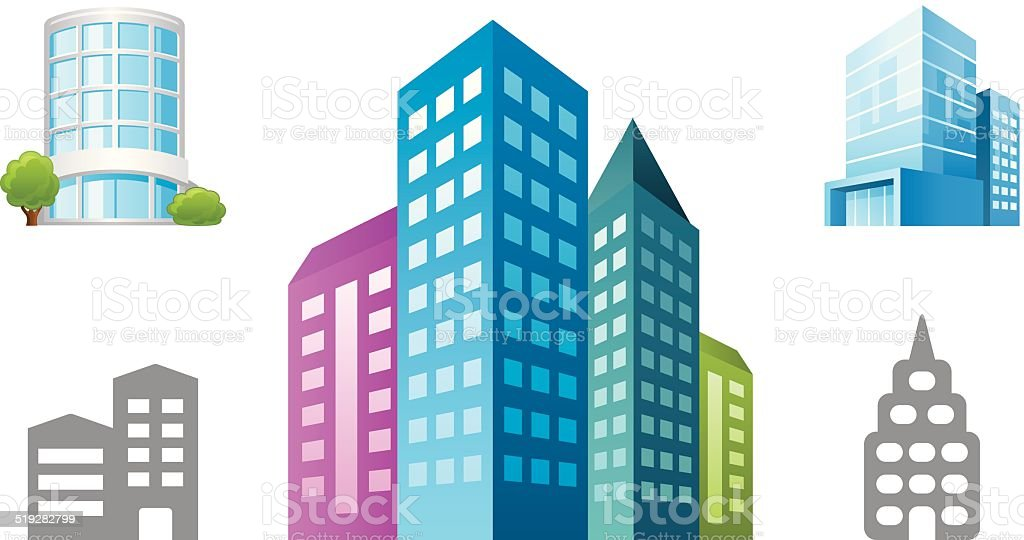 Office Building object icons vector art illustration