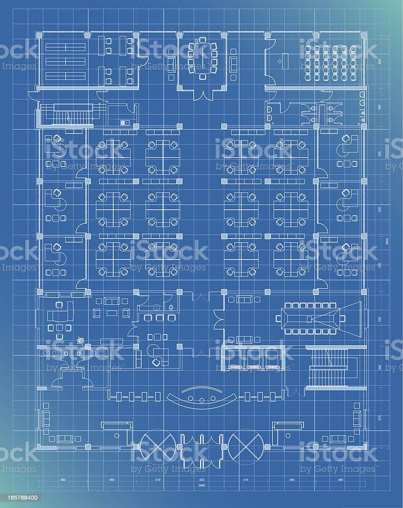 Office Building Plan Blueprint Entrance Floor stock vector art