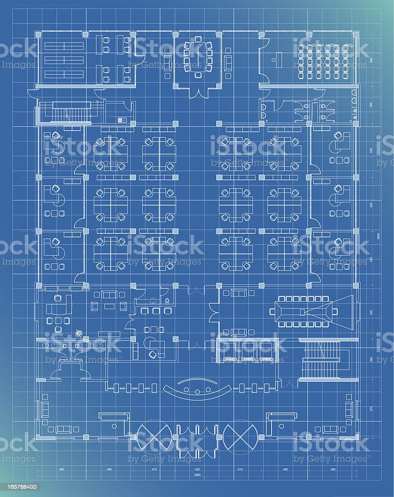 office building plan blueprint entrance floor vector art illustration